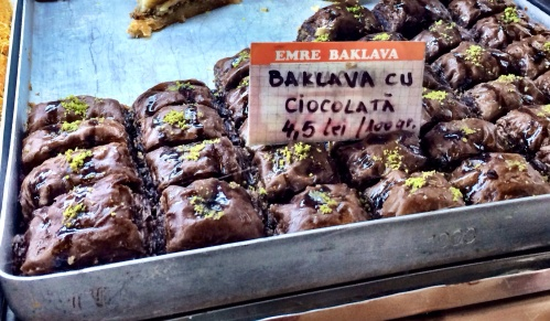 Baklava made with chocolate and soaked in chocolate syrup