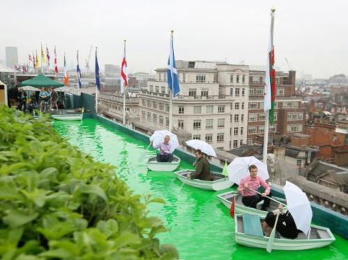 The roof of Selfridges becomes an emerald lake