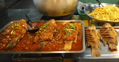 Whole fried fish in Chiang Mai