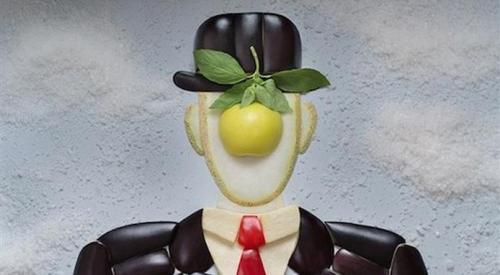 The Son of Man by Rene Magritte using fruit, vegetables and rice