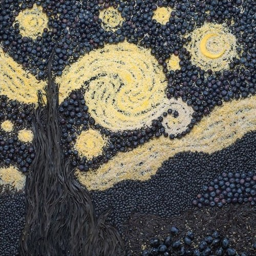 The Starry Night by Vincent Van Gogh using wild rice, pasta and grapes