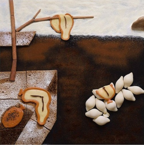 The Persistence of Memory by Dali using sesame, pasta, cinnamon and bread