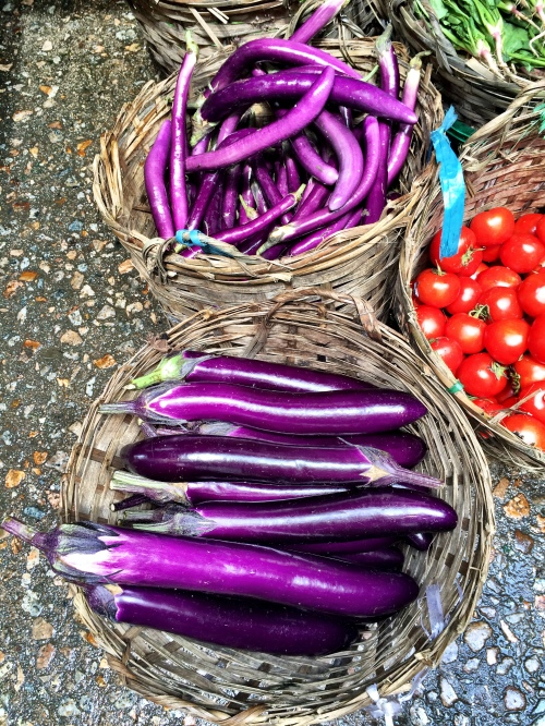 Stunning aubergine at the Kowloon City Market in Hong Kong