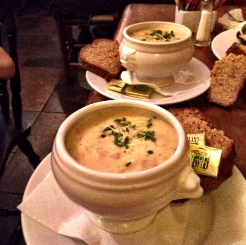 Tureens of rich Irish seafood chowder