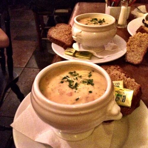 Tureens of rich Irish seafood chowder